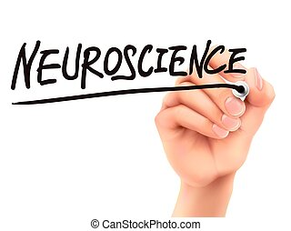 neuroscience word written by 3d hand over white background