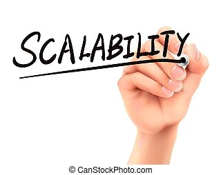 scalability word written by 3d hand over white background