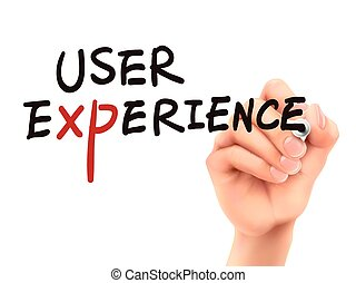 user experience words written by 3d hand over white...