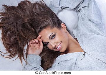 Beauty brunette woman posing
