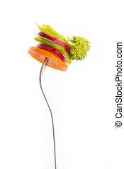 叉子, 蔬菜, 被隔离, 背景, 新鮮, 白色