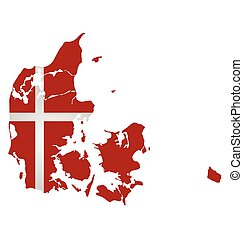 Denmark Flag - Flag of the Kingdom of Denmark overlaid on...