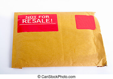 Envelope with red sticker: Not for resale, isolated on white...