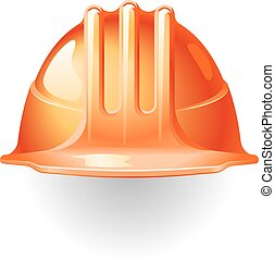 Construction helmet - Orange construction helmet isolated on...
