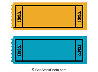 Two blank tickets - Two blank perforated tickets, isolated...
