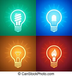 Evolution of lighting equipment - Four light bulbs with...