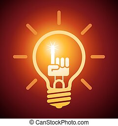 Bright idea - Light bulb with hand with a raised index...