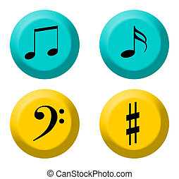 Musical buttons - Set of four colorful music buttons,...