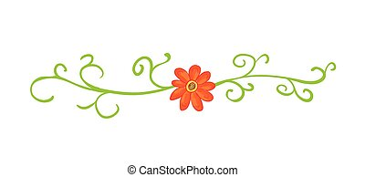 Horizontal floral vignette with red flowers.