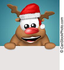 reindeer Christmas with white board happy - reindeer...
