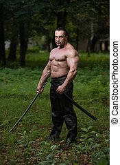 antiga, próprio, Defesa, espada, desenho, homem