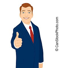 Businessman thumb up gesture - Vector illustration of a...