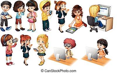 Children - illustration of children working on computer