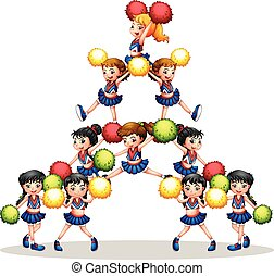 Cheerleaders - illustration of many cheerleaders
