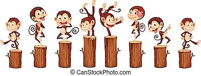Monkeys - illustration of many monkeys on the log