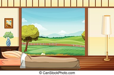 Bedroom - illustration of a bedroom with a view