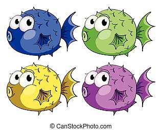 Bubble fish - illustration of different color bubblefish