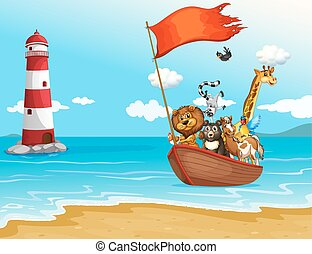 Animals and boat - illustration of many animals on a boat