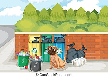Garbage and dog - illustration of a dog sitting by the trash...