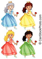 Princess - illustration of many princess