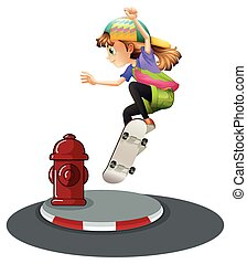 Skateboarding - illustration of a girl skateboarding on the...