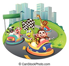 Animals and racing cars - illustration of many animals...