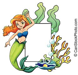 Mermaid - illustration of a mermaid and a sign
