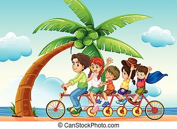 Riding bike - illustration of a family riding bicycle