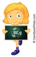 Recycle - illustration of a girl holding a recycle sign