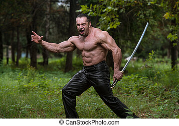 homem, desenho, antiga, espada, em, próprio, Defesa,