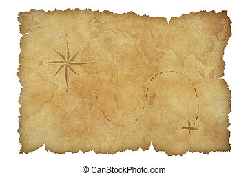 Pirates' parchment treasure map isolated with clipping path...