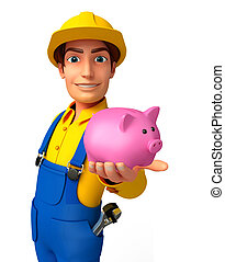 Young Mechanic with piggy bank - Illustration of young...