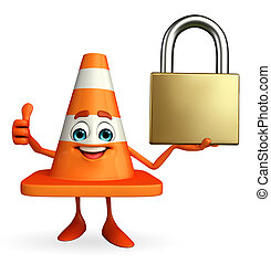 Construction Cone Character with lock - Cartoon Character of...
