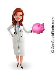Young Doctor with piggy bank - Illustration of Young Doctor...