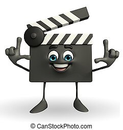 Clapper Board Character with director pose - Cartoon...