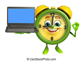Table clock character with Laptop - Cartoon Character of...