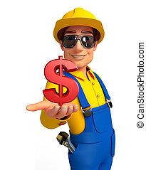 jovem, mecânico, com, dólar, sinal,