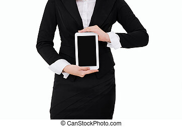 Digital Tablet - Business woman holding Digital Tablet...