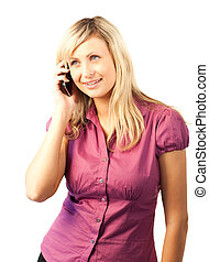 Blonde Business woman talking on phone - Young Blonde...