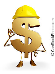 Dollar Character with worker hat