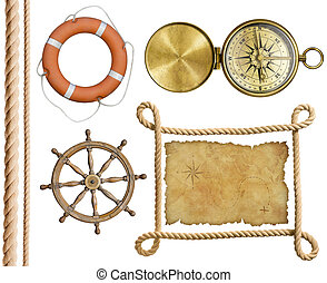 nautical objects rope, treasure map, lifebuoy, compass...
