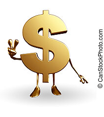 Dollar Character with victory sign - Cartoon Character of...