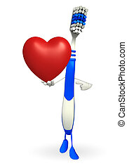 Toothbrush Character with red heart - Cartoon Character of...