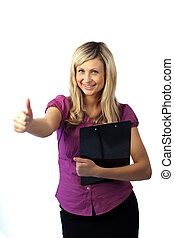 Woman Holding a Clip Board with her thumbs up
