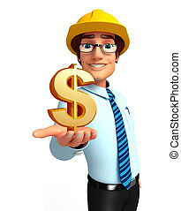 Young Service Man with dollar sign - Illustration of service...