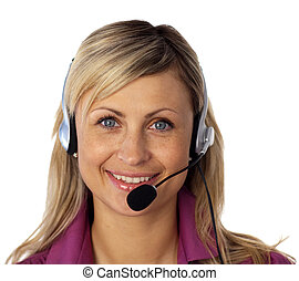 Young business woman talking on a headset - Beautiful Young...