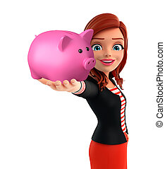 Young Corporate lady with piggy bank - Illustration of...