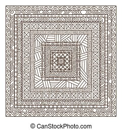 Original drawing tribal doddle rectangle. Template frame...