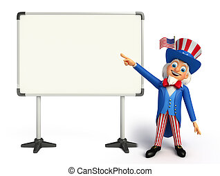 Uncle Sam with display board - Illustration of uncle sam...