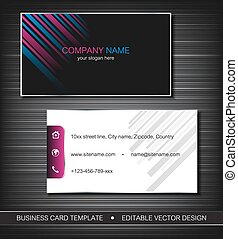Business card template or visiting card set with front and...
